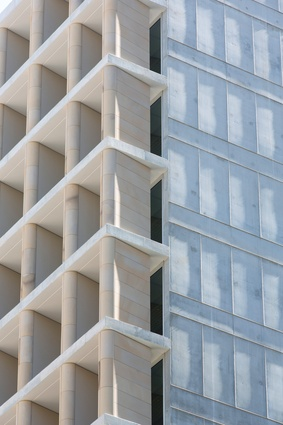 """The facade of the AHL Headquarters in Sydney displays a similar """"compositional finesse"""" to that of QT Melbourne."""