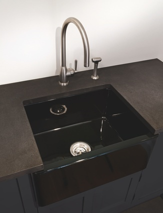 Acquello black fireclay sink.