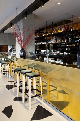 Close-up of the Trocadero bar with Van Haandel's signature midas touch.