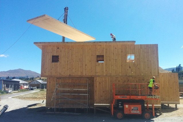 CLT construction of the Lynds Residence in Queenstown in 2016.