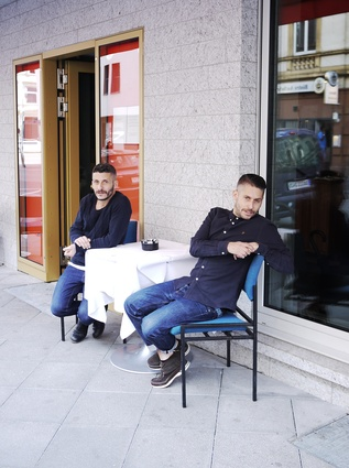 James (left) and David Ardinast outside the glossy orange doors of their fourth and latest restaurant, the critically acclaimed Stanley Diamond.