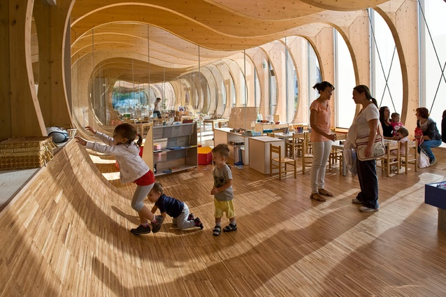 Guastalla School, built in the earthquake-damaged Guastalla region, Italy. The structure is built of natural and recycled materials with a low environmental impact.