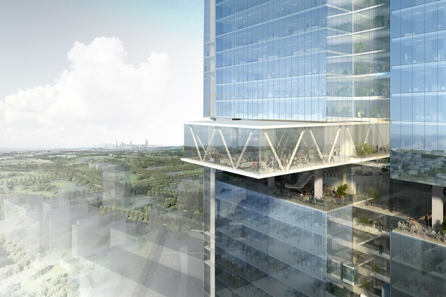The sky terrace in JPW's original competition-winning design for twin commercial towers in Parramatta Square.