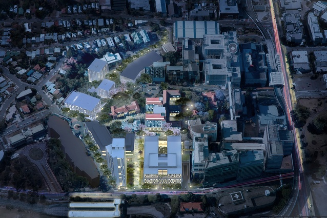 An aerial view of the proposed Herston Quarter masterplanned by Hassell.