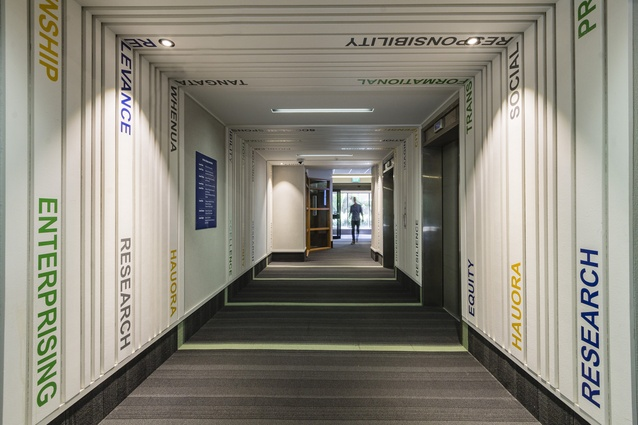 Small Project Architecture: Deconstructed Box (Massey University Social Science Tower Lobby refurbishment) by Architype - Shadbolt Architects.