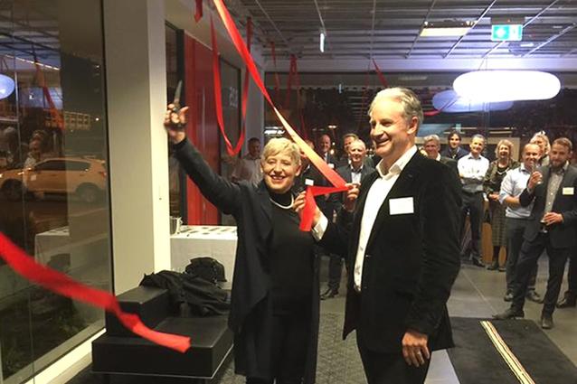 Richard Dalman and Hon. Lianne Dalziel opening the new studio on 26 April.