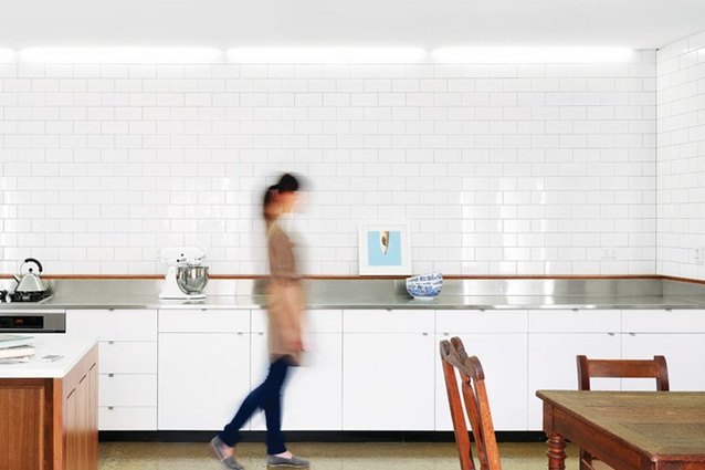 Johnson white gloss tiles in Boston Street House.