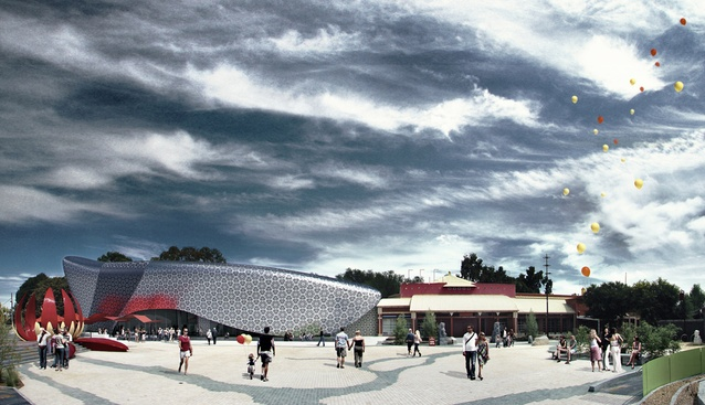 Woods Bagot's proposal for the extension to the Bendigo Golden Dragon Museum.