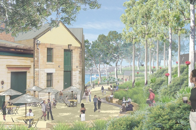 A render of the proposed Munn Reserve, part of Headland Park at Barangaroo.