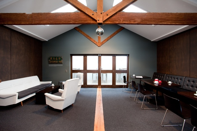 The first floor offices of BrandAid. Original beams were sandblasted to expose the natural wood.