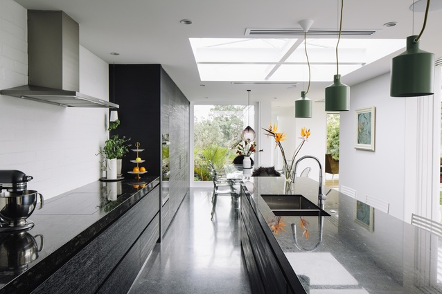 The kitchen flows seamlessly into the dining area.