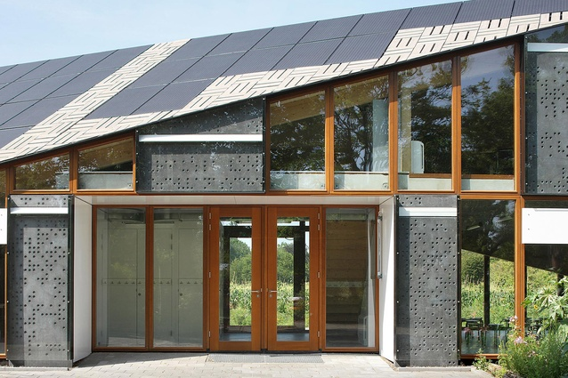 Nature & Environment Learning Center, Netherlands. An energy neutral structure that features a sloping rooftop of embedded photovoltaic panels that can be viewed from below.
