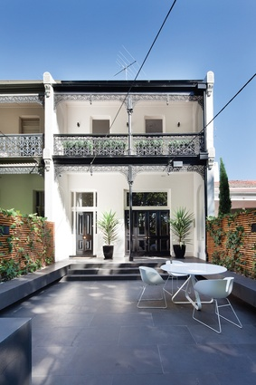 At Mary Residence, a historic double-fronted two-storey terrace was retained and restored.