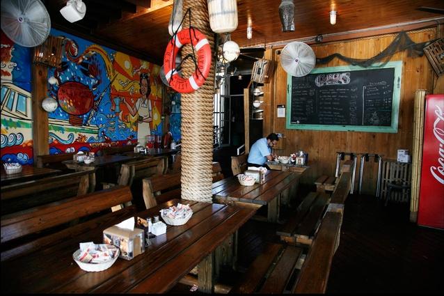 Inside Garcia's Seafood Grille.