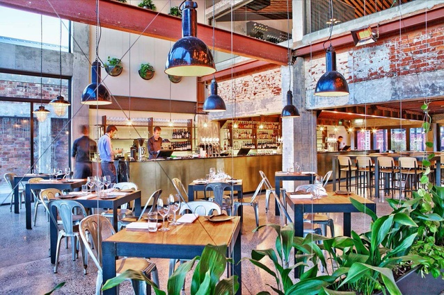 The Commons' popular dining space is fitted with raw materials and industrial fittings.