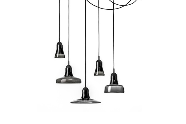 Shadow Pendants by Dan Yeffet and Lucie Koldova, in transparent smokey grey.