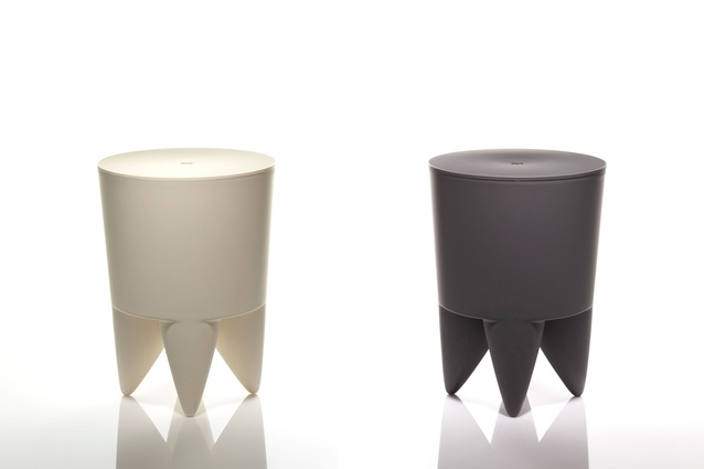 Bubu storage stool in chalk white and charcoal grey colours. Designed by Philippe Starck and available at Indice.