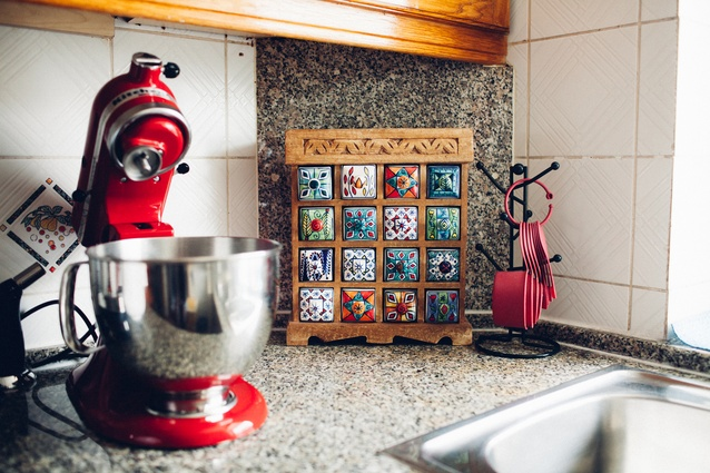 Splashes of middle-east decor in the kitchen.