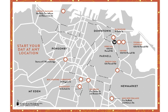 Map of locations for Urbis Designday 2013. The transport runs from every stop in a continuous circuit so you can start your day at any location!
