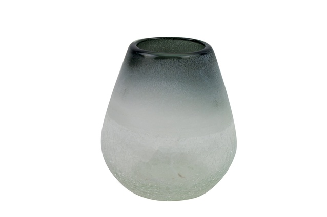 """May Time Frosted Glass Vase Grey/Clear Short 