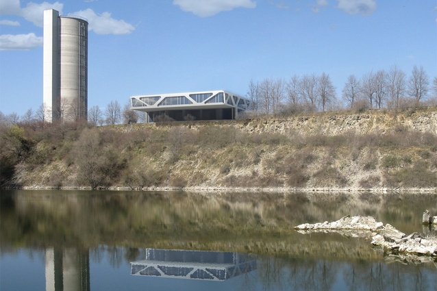 The horizontal design was a complement to the existing cement silo.