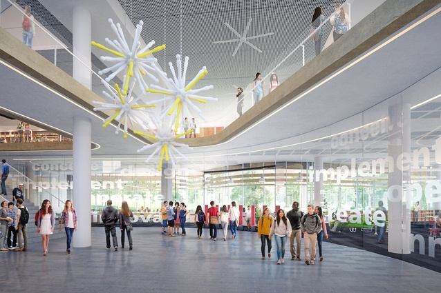 A student and community hub in the proposed Inner Sydney High School by FJMT.