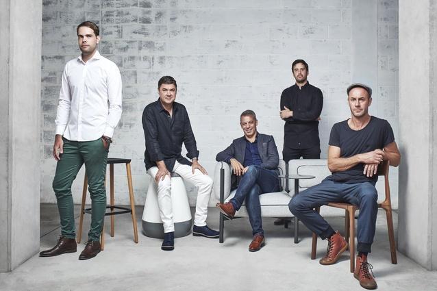 L–R: Jack Flanagan (NAU designer, Perth), Gavin Harris (NAU designer, Sydney), Richard Munao (NAU founder, Sydney), Adam Cornish (NAU designer, Melbourne) and Adam Goodrum (NAU designer, Sydney).
