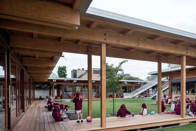 Plenty of outdoor space and green outlooks reflect the 'garden city, garden school' concept proposed by the architects.