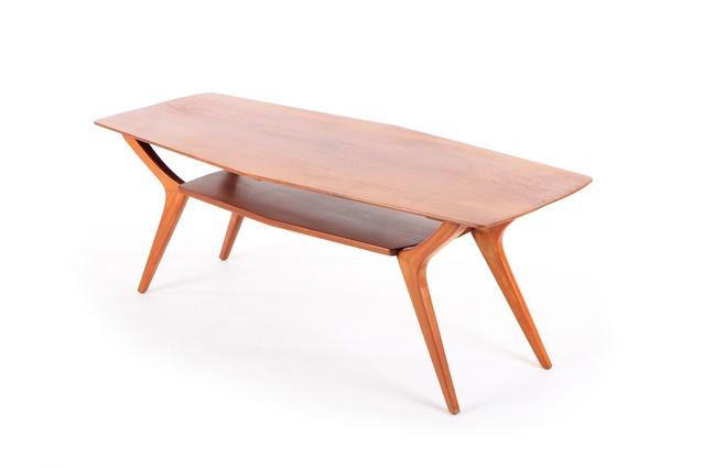 Mid-century New Zealand sculpted mahogany coffee table.