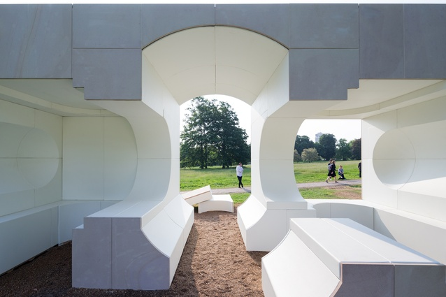 Kunlé Adeyemi-designed Serpentine Summer House. An inverse replica of the historic Queen Caroline's Temple, this is a space for shelter and relaxation.