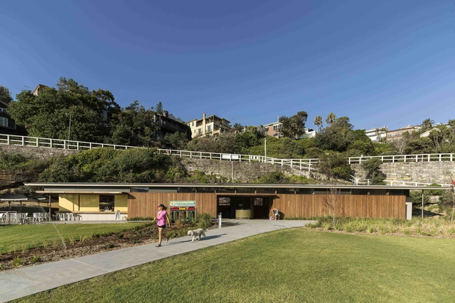 Tamarama Kiosk by Lahz Nimmo Architects  gathers cafe, storage and amenities in a single building aligned to the southern cliff.