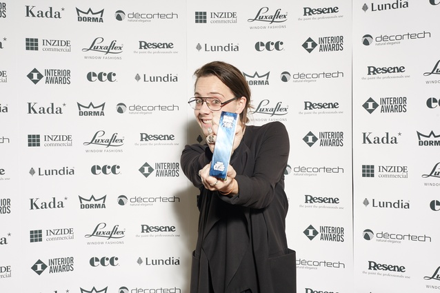 Prue Johnstone of AW Architects collects the 2016 Interior Award trophy for Workplace up to 1,000 sqm.