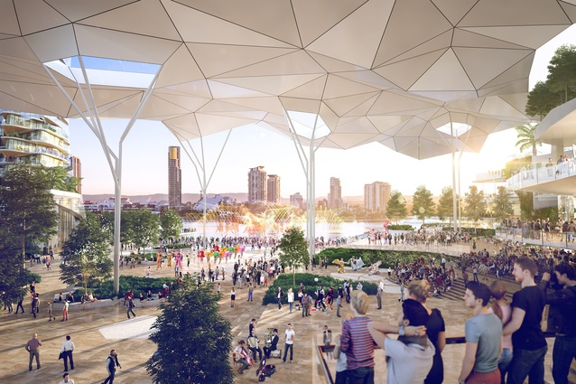 A waterfront plaza in the proposal for the Gold Coast Integrated Resort designed by Blight Rayner.