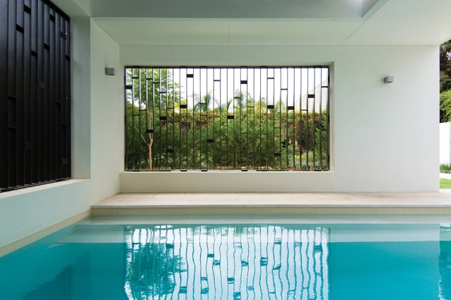 At Jane's House, the threshold between inside and outside is a semi-enclosed pool balanced in scale by the generosity of the interior volumes.