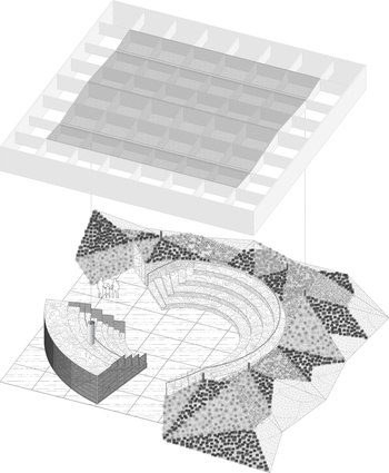 Exploded axonometric diagram of the 2017 MPavilion by Rem Koolhaas and David Gianotten of OMA.