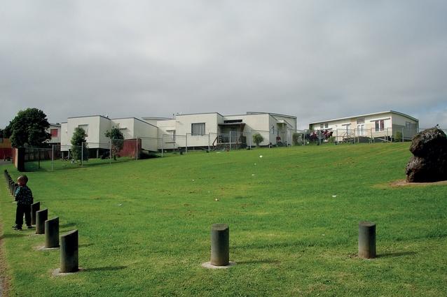 The undulating terraced Wiri State Housing precinct, built as an urban papakāinga (village; 1986-1989).