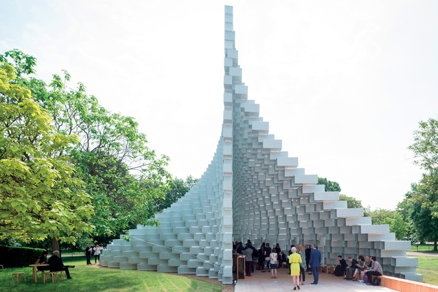 The 2016 Serpentine Pavilion by BIG, a fibreglass brick structure that takes the form of an 'unzipped wall' hosted events throughout the English summer.