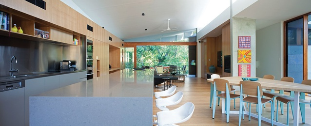 First-floor living area extends from the street to the national park. Artworks (from top) by: Shorty Jangala Robertson; Jean Yaritji Lane; Paddy Japaljarri Stewart.