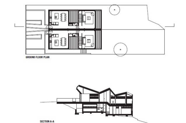 Section and plan for Bell Romero Houses by Chenchow Little Architects.