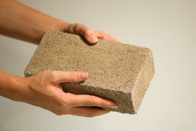 A bio-brick composed of bacteria, calcium chloride and urine dispersed over dry sand.