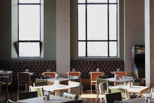 The café's main floor space.