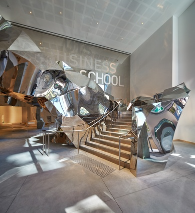 A sculptural internal staircase in the Gehry mould.