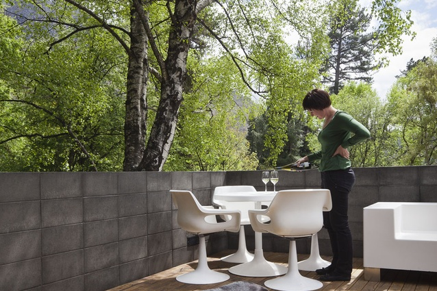 The boxy furniture on the deck is designed by StaceyFarrell.