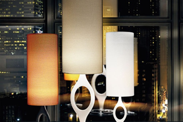 Zero table and floor lamps from Vistosi.