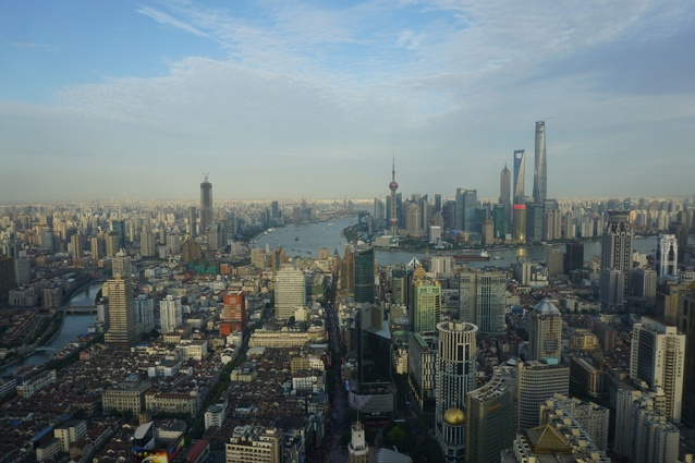 View of Shanghai from the 65th floor of Le Royal Meridien Hotel, Shanghai.