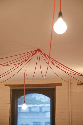 A draped-cord custom lighting solution.
