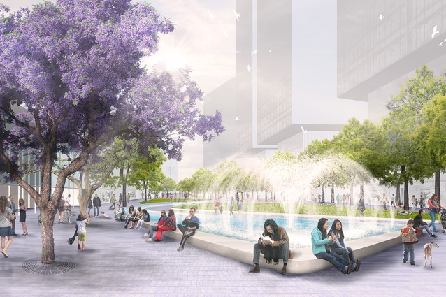 Parramatta Square draft concept design by JMD Design, Taylor Cullity Lethlean, Tonkin Zulaikha Greer, and Gehl Architects features a fountain at the western end.