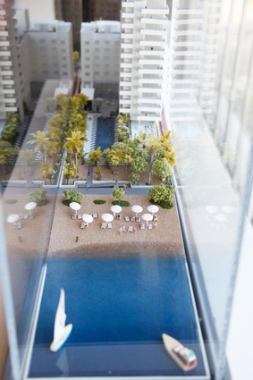 An architectural model of one of Schulman's most recent projects, Soho House Miami.