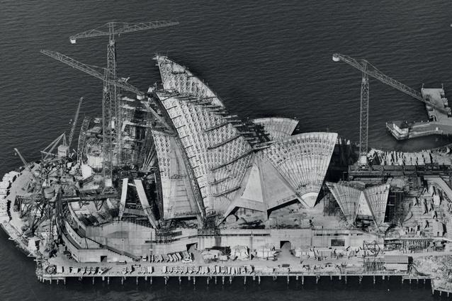 Sydney Opera House under construction, 6 April 1966.