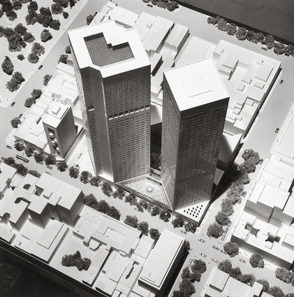 A model of Collins Place designed by Pei and Partners and Bates Smart and McCutcheon.